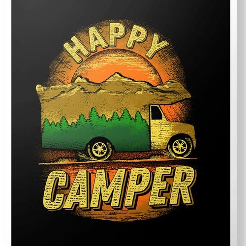 Camper van design with the title 'Happy Camper '