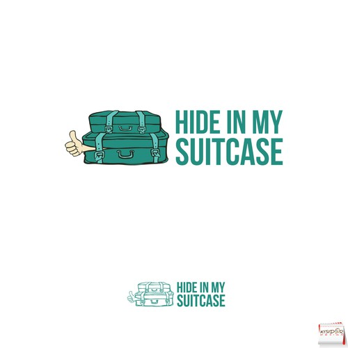 Suitcase design with the title 'fun logo concept for a travel blog'