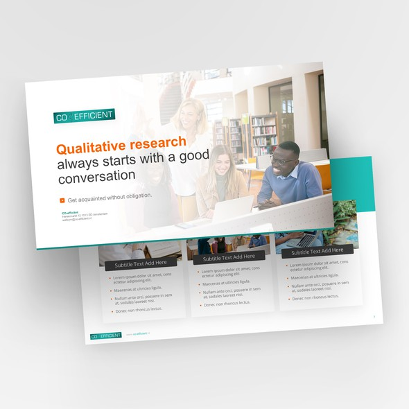 Research design with the title 'Report powerpoint template design'