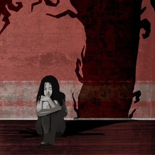Novel artwork with the title 'Horror Novel Illustration'