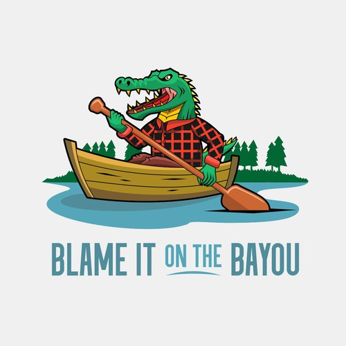 Lumberjack logo with the title 'Alligator on the boat!'