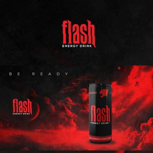 Energy drink packaging with the title 'Flash Energy Drink | Be ready'