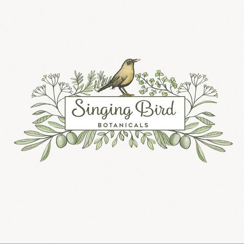Botanical design with the title 'Singing Bird'