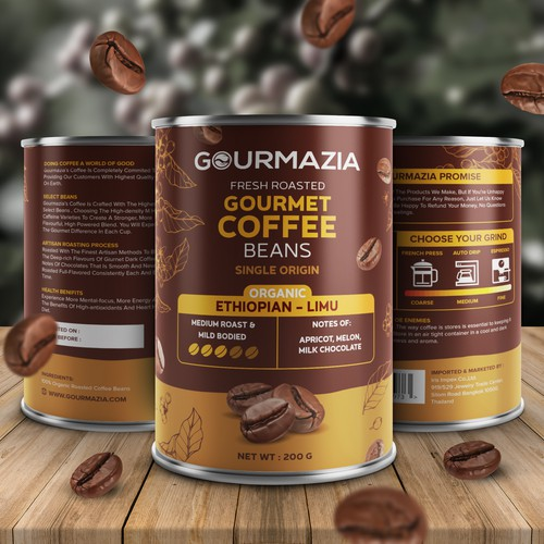 Product packaging with the title 'Coffee Beans Packaging Design'