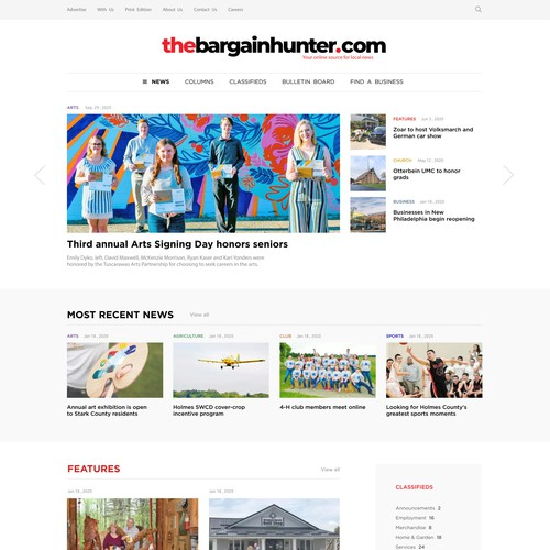 Communication website with the title 'online newspaper site'