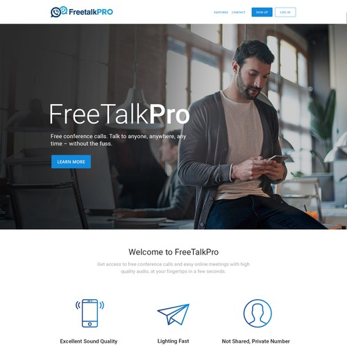Communication website with the title 'Webdesign For Freetalk Pro'