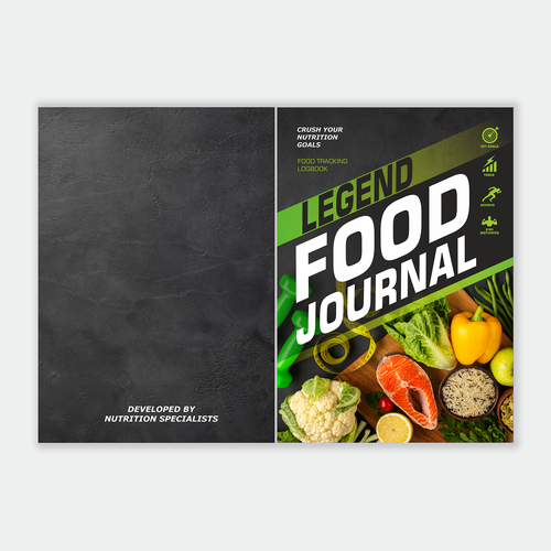 Notebook design with the title 'Food Tracking Logbook'