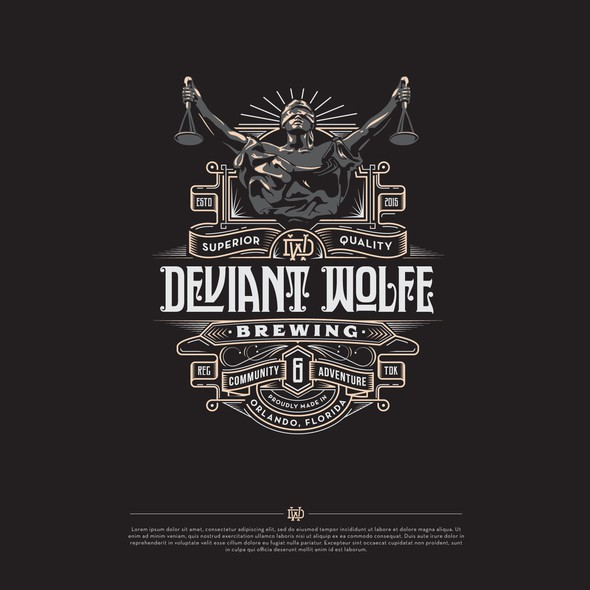 Justice logo with the title 'Deviant Wolfe Brewing - Logo'