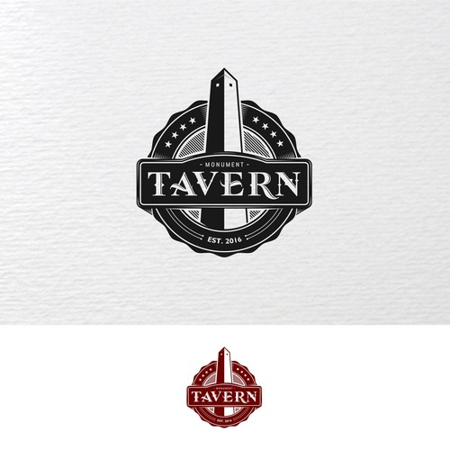 Monument logo with the title 'monument tavern badge logo'