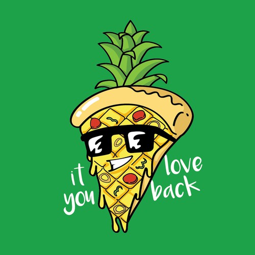 Mascot t-shirt with the title 'The fucking pineapple pizza '