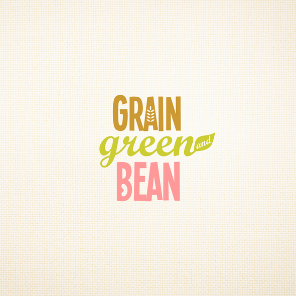 Bean logo with the title 'Magnetic logo for Grain, Green and Bean'