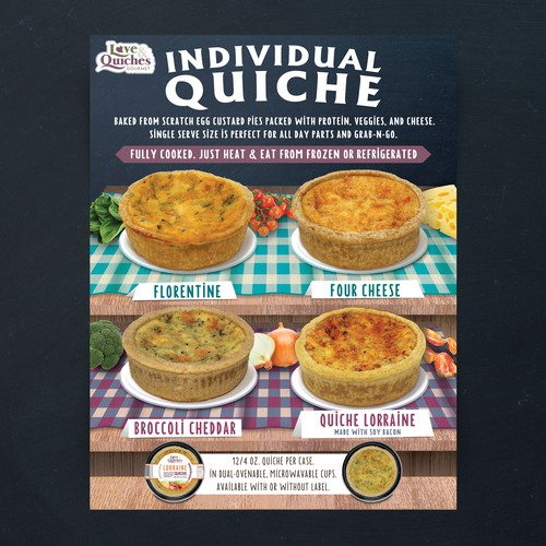 Gourmet design with the title 'Sell sheet for Love & Quiches Inc. (NJ, USA)'