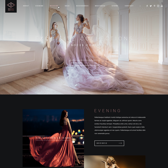 Simple website with the title 'Web Design for a Fashion Designer'
