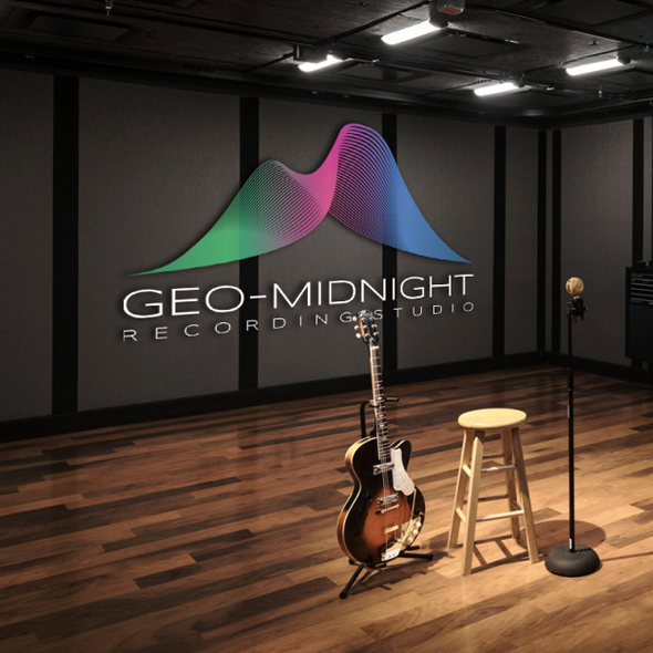 Aurora design with the title 'GeoMidnight - Logo for a recording studio'