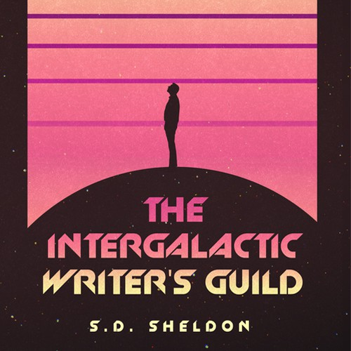Retro book cover with the title 'The intergalactic writers guild'