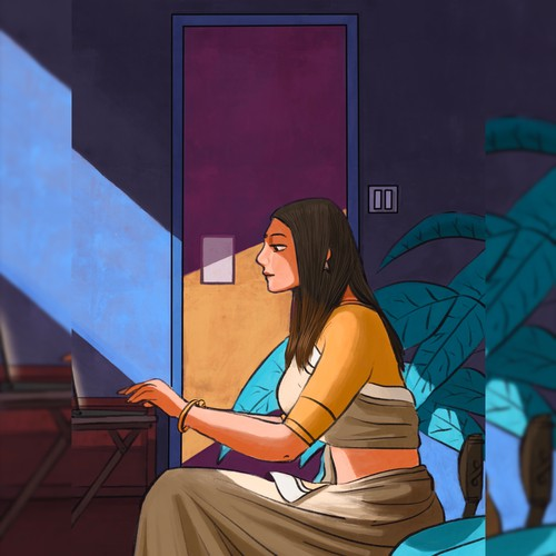 Indian artwork with the title 'Illustration for a client showing lockdown home office.'