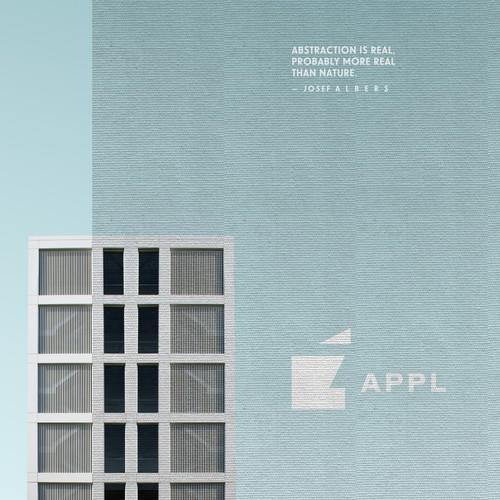 Apple tree logo with the title 'Apple circa 1950, Bauhaus-style'