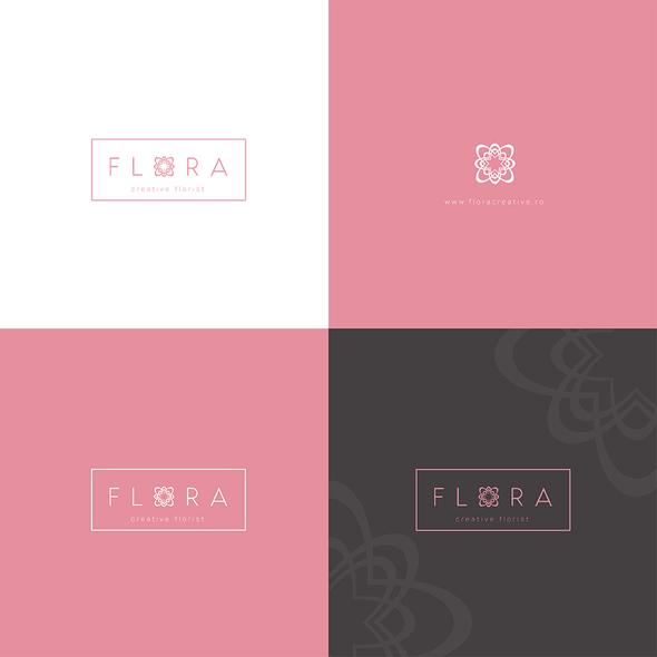 Flora logo with the title 'Flora - creative florist'
