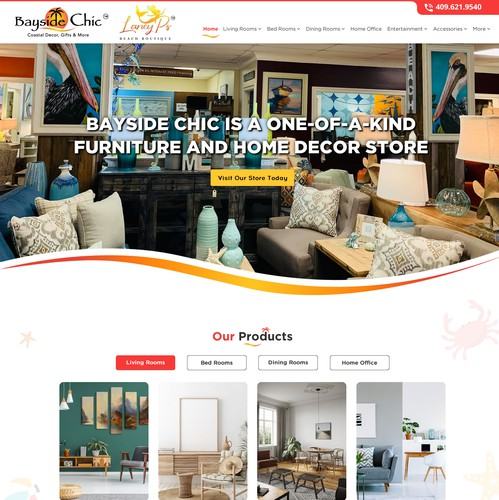 HTML5 website with the title 'Hip chic web design for stores showcasing great south texas retail industry'