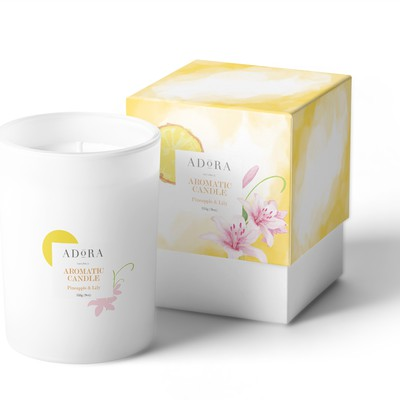 Watercolor design for aromatic candle