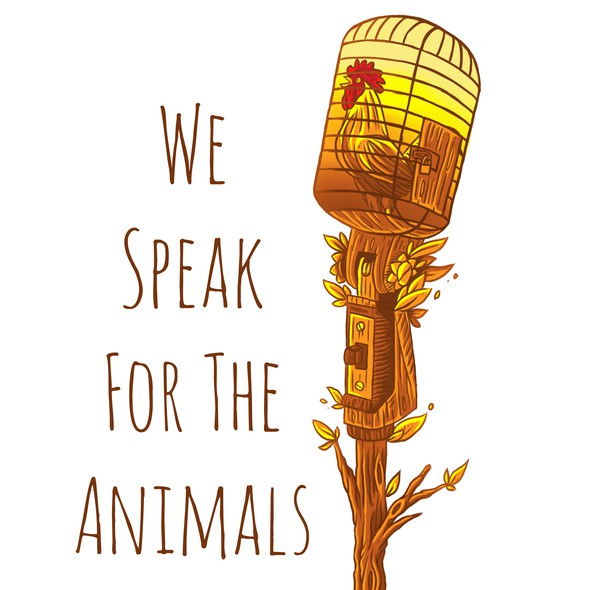 """Animal artwork with the title 'Vegan themed t-shirts """"WE SPEAK FOR THE ANIMAL""""'"""