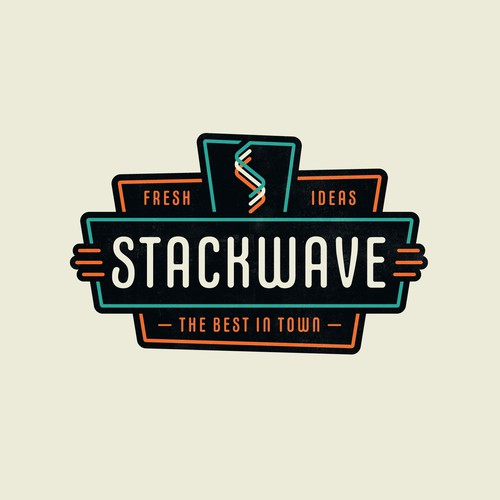 Retro design with the title 'StackWave Logo'