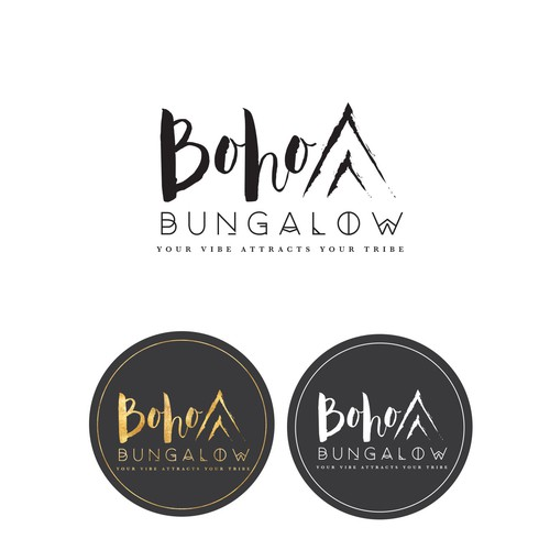 Indie design with the title 'Boho Bungalow your vibe attracts your tribe'