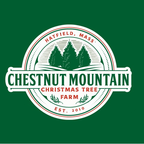 Christmas tree design with the title 'Logo Design for CHESTNUT MOUNTAIN CHRISTMAS TREE FARM'