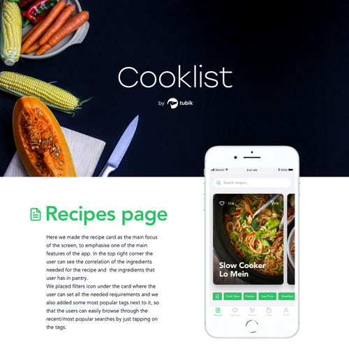 Pantry design with the title 'Concept for a Recipe App'