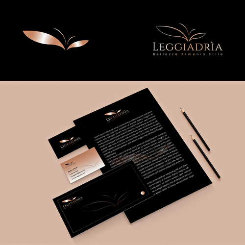 Hair salon brand with the title 'Elegant logo and brand identity design for Leggiadrìa'