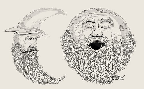 Moon illustration with the title 'Man in the moon'
