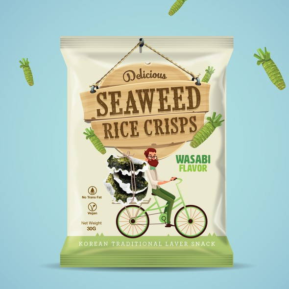 Chips packaging with the title 'Seaweed Rice Crisps'