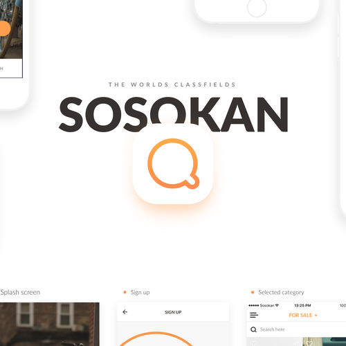Sleek design with the title 'Classfields by Sosokan - Ad posting app'