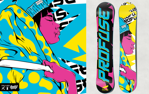 Funky design with the title 'Profuse Snowboarding'