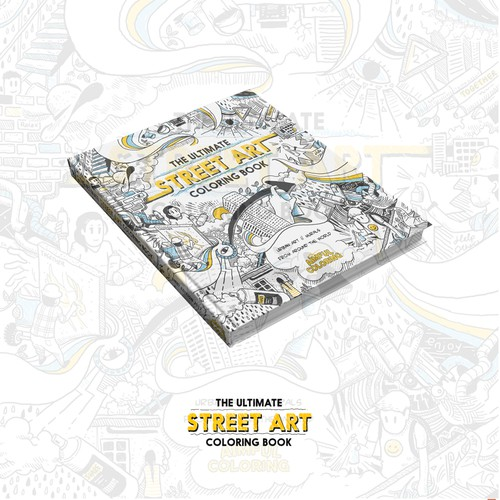 Coloring design with the title 'Street art coloring book'