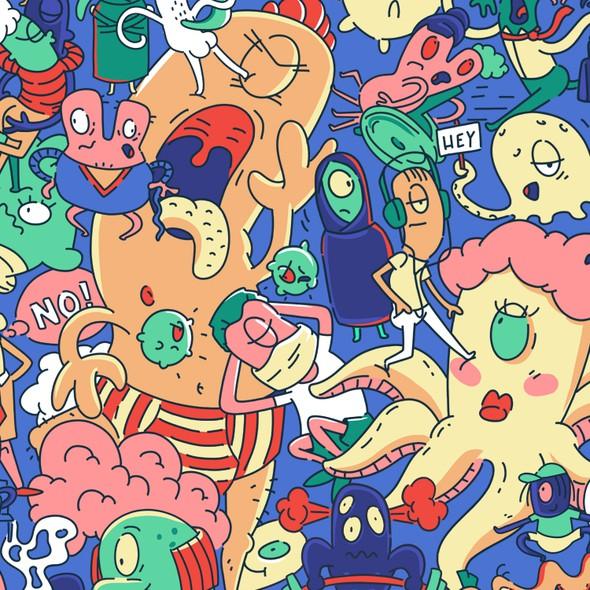 Monster illustration with the title 'alien pattern design'