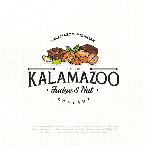Nut design with the title 'Kalamazoo Fudge and Nut Company'