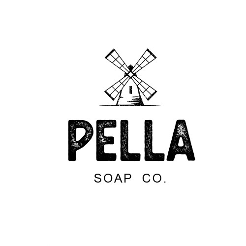 "Windmill design with the title 'Rustic logo concept for ""Pella Soap Co.""'"