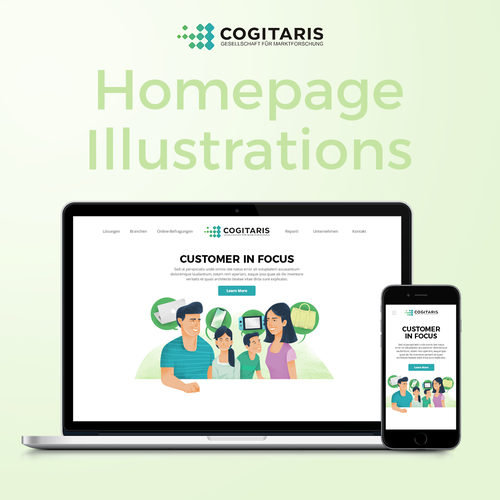Landing page illustration with the title 'Website Illustration for Cogitaris'