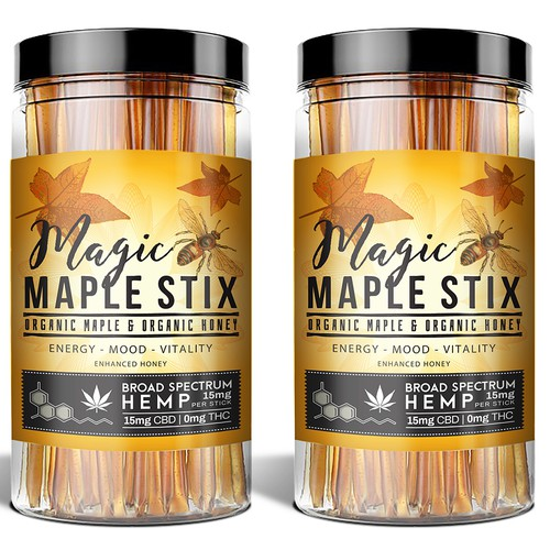 Maple design with the title 'Design for hemp infused honey'
