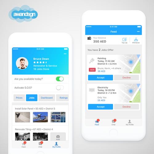 Hub design with the title 'A Handyman App'