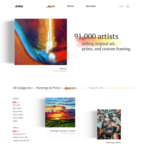 Art website with the title 'Art Gallery Shop'