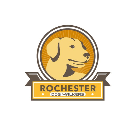 Canine logo with the title 'Rochester Dog Walkers'