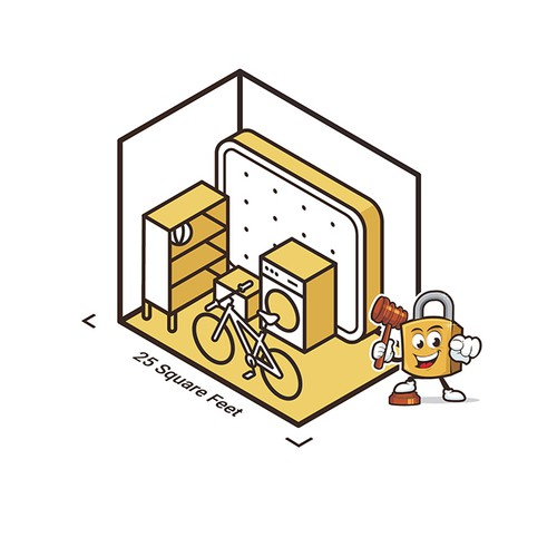 Storage design with the title '5x outlines isometric illustrations'