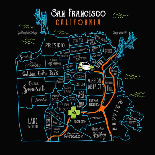 California design with the title 'vibrant map of SAN FRANCISCO CALIFORNIA for THE GREEN CROSS (medical marijuana)'