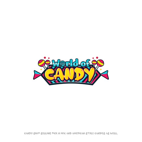 Candy store design with the title 'World of Candy logo'