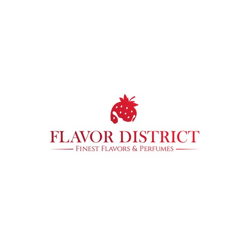 Strawberry logo with the title 'Flavor district'