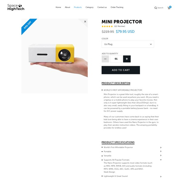 Product page design with the title 'SpaceHighTech.com'