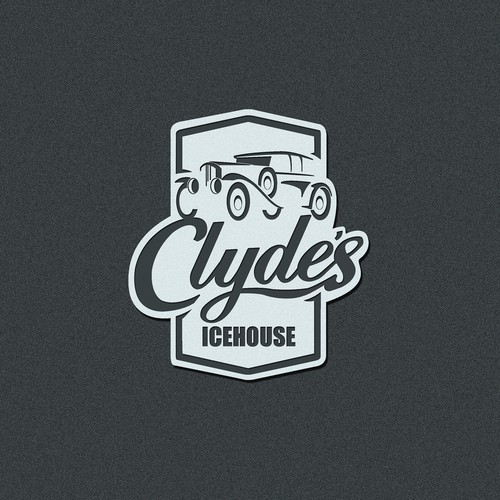 Vintage car logo with the title 'Clyde's Icehouse barbecue restaurant logo design'