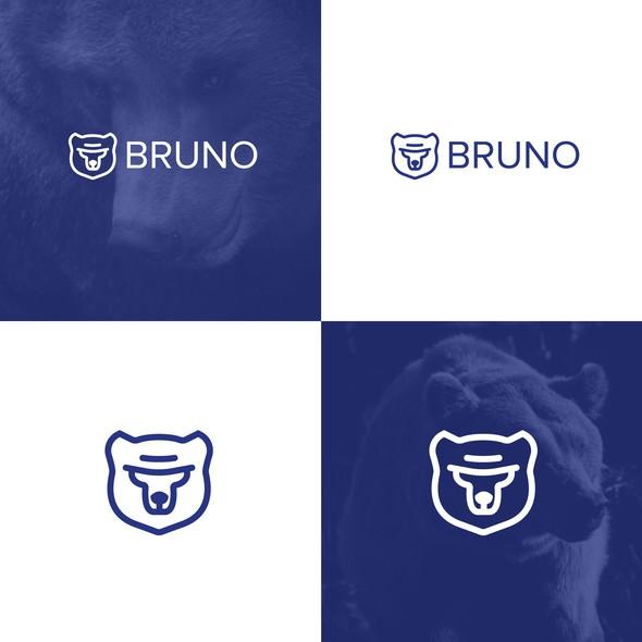 Bear face logo with the title 'Line-art Bear Head Logo'
